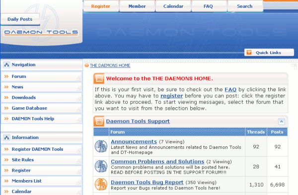 Page d'accueil du site officiel de DAEMON Tools Lite